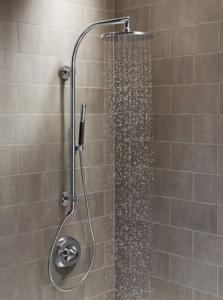 Effortless bathroom remodel with kohler hydrorail shower for Weinstein kitchen and bath