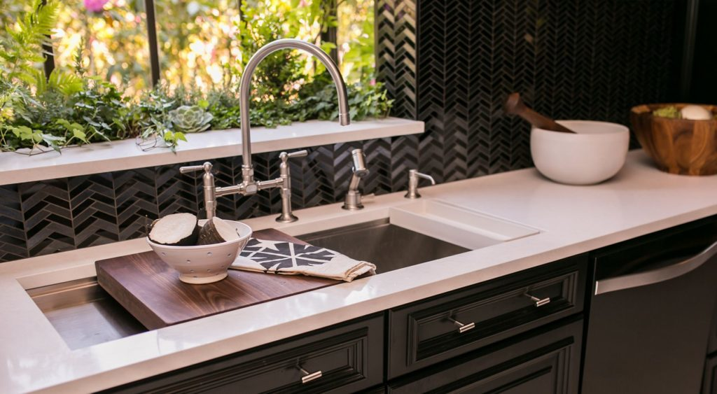 kitchen faucet and sink with accessories