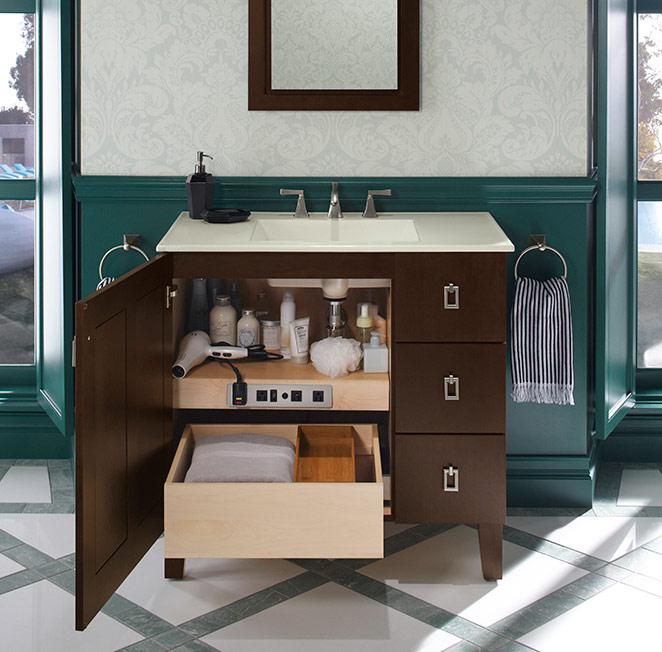 Photo of bathroom vanity with cabinet door open and shelves | bathroom vanities in Philadelphia | Weinstein Collegeville