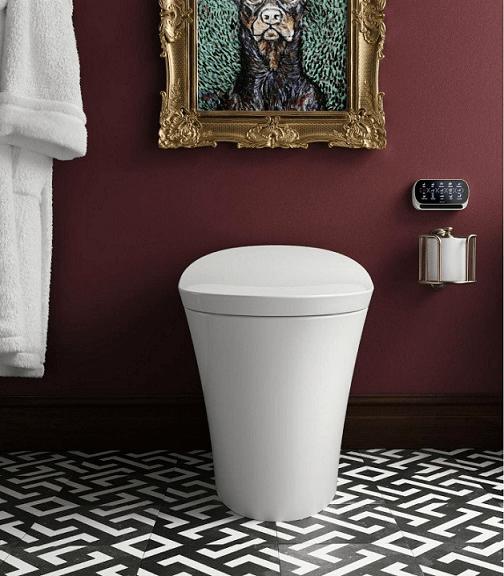Kohler Veil toilet in red bathroom | Kohler toilets sale in Collegeville | Weinstein Better Bath & Kitchens