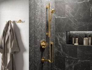 Kohler bathroom fixtures and accessories in bathroom shower | kohler faucet finish | Weinstein Collegeville