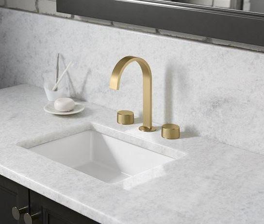 Kohler Component bathroom faucet in Vibrant Brushed Moderne Brass   kohler finishes   Weinstein Collegeville